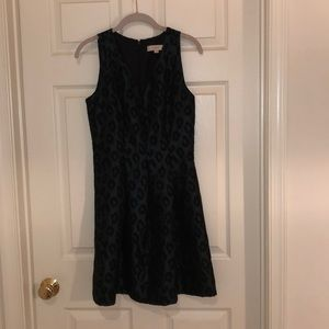 LOFT Leopard Brocade Fit and Flare Dress